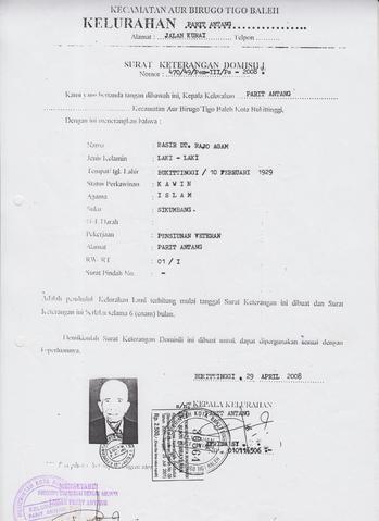 Surat Keterangan Domisili Sistem Informasi Kearsipan Dinas